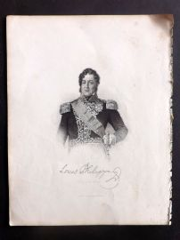 Fisher (Pub) 1830's Antique Portrait Print. Louis Philippe, King of the French